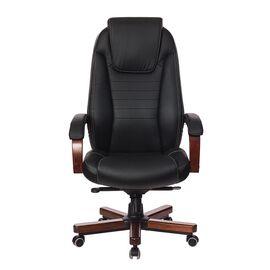 Компьютерное кресло для руководителя Бюрократ T-9923-WALNUT/BLACK черный кожа крестовина дерево, Цвет товара: Черный / Темный орех, изображение 2