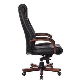 Компьютерное кресло для руководителя Бюрократ T-9923-WALNUT/BLACK черный кожа крестовина дерево, Цвет товара: Черный / Темный орех, изображение 3