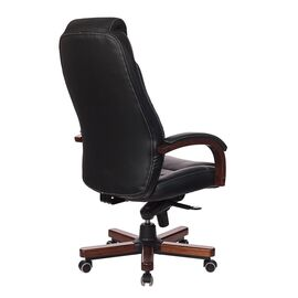 Компьютерное кресло для руководителя Бюрократ T-9923-WALNUT/BLACK черный кожа крестовина дерево, Цвет товара: Черный / Темный орех, изображение 4