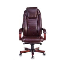 Компьютерное кресло для руководителя Бюрократ T-9923-WALNUT/BROWN коричневый кожа крестовина дерево, Цвет товара: Коричневый/Т.орех, изображение 2