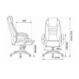 Компьютерное кресло для руководителя Бюрократ T-9923SL/BLACK черный кожа крестовина хром, Цвет товара: Черный/Х, изображение 5