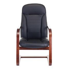 Кресло конференц Бюрократ T-9923-WALNUT-AV/BL  низкая спинка черный кожа, Цвет товара: Черный / Коричневый, изображение 2