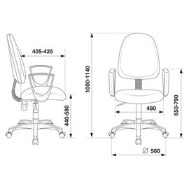 Компьютерное кресло Бюрократ CH-1300N/3C1 серый Престиж+ 3C1, Цвет товара: Серый, изображение 2
