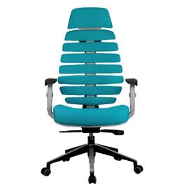 Компьютерное кресло для руководителя Riva Chair Shark Серый пластик/Лазурная ткань (26-30), изображение 2