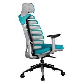 Компьютерное кресло для руководителя Riva Chair Shark Серый пластик/Лазурная ткань (26-30), изображение 4