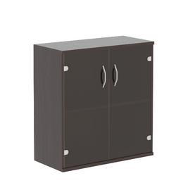 Шкаф для документов низкий ( со стеклянными дверьми ) СТ-3.2 Венге Магия 770х365х823, Цвет товара: Венге