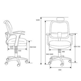 Кресло офисное Norden Интер / база хром / черный пластик / серая сетка / серая ткань, изображение 2