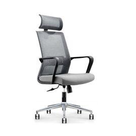 Кресло офисное Norden Интер / база хром / черный пластик / серая сетка / серая ткань