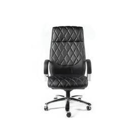 Компьютерное кресло для руководителя Norden Бонд / (black) сталь + хром / черная экокожа, изображение 2