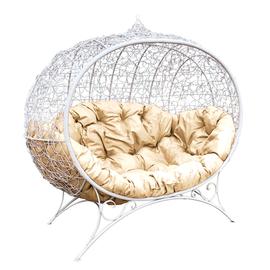 """Кресло """"Улей"""" на подставке с ротангом ЦВЕТ: Белый; ПОДУШКА: Бежевая"""