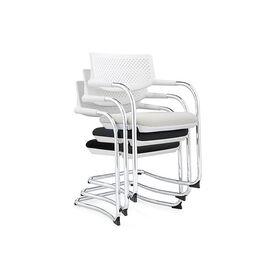 Кресло для посетителей Norden Самба white CF / хром / белый пластик / черная ткань, изображение 4