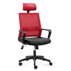 Кресло офисное Norden Бит / черный пластик / красная сетка / черная ткань