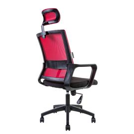 Кресло офисное Norden Бит / черный пластик / красная сетка / черная ткань, изображение 4