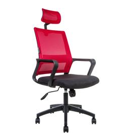 Кресло офисное Norden Бит / черный пластик / красная сетка / черная ткань, изображение 2