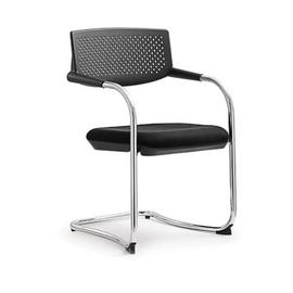 Кресло для посетителей Norden Самба black CF / хром / черный пластик / черная ткань