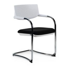 Кресло для посетителей Norden Самба white CF / хром / белый пластик / черная ткань