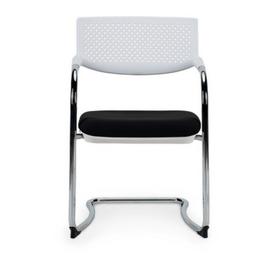 Кресло для посетителей Norden Самба white CF / хром / белый пластик / черная ткань, изображение 2