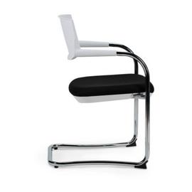 Кресло для посетителей Norden Самба white CF / хром / белый пластик / черная ткань, изображение 3