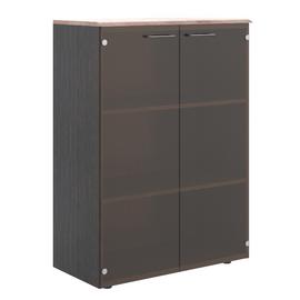Шкаф для документов средний ( со стеклянными дверьми ) из МДФ Wave Skyland WMC 85.2 Дуб Сонома/Легно темный 856х432х1184, Цвет товара: Дуб Сонома/Легно темный
