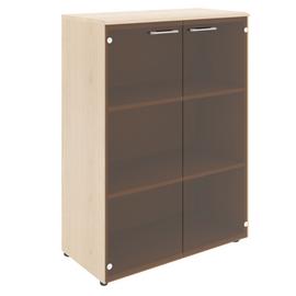 Шкаф для документов средний ( со стеклянными дверьми ) из МДФ Wave Skyland WMC 85.2 Дуб Сонома 856х432х1184, Цвет товара: Бук Тиара