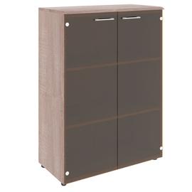Шкаф для документов средний ( со стеклянными дверьми ) из МДФ Wave Skyland WMC 85.2 Бук Тиара 856х432х1184, Цвет товара: Дуб Cонома
