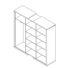 Шкаф для документов + гардероб в левой секции  ASTI AS - 2.1 1800х500х1850 Дуб сантана/Белый, Цвет товара: Дуб Сантана, изображение 2