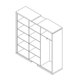Шкаф для документов + гардероб в правой секции  ASTI AS - 2.1 1800х500х1850 Дуб сантана/Белый, Цвет товара: Дуб Сантана, изображение 2