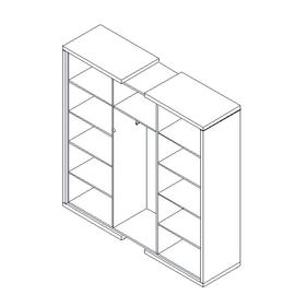 Шкаф для документов + гардероб в средней секции  ASTI AS - 2.1 1800х500х1850 Дуб нельсон/Серый, Цвет товара: Дуб нельсон, изображение 2