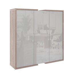 Шкаф для документов + гардероб в правой секции  ASTI AS - 2.1 1800х500х1850 Дуб нельсон/Серый, Цвет товара: Дуб нельсон