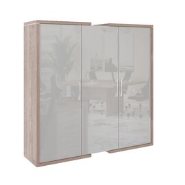 Шкаф для документов + гардероб в левой секции  ASTI AS - 2.1 1800х500х1850 Дуб нельсон/Серый, Цвет товара: Дуб нельсон