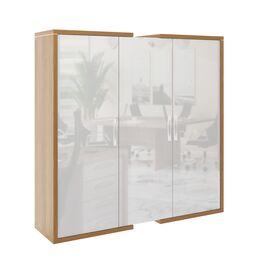 Шкаф для документов + гардероб в левой секции  ASTI AS - 2.1 1800х500х1850 Дуб сантана/Белый, Цвет товара: Дуб Сантана