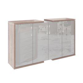 Шкаф закрытый средний широкий ASTI AS - 2.5 2080х500х1190 Дуб нельсон/Серый, Цвет товара: Дуб нельсон