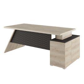 Стол для руководителя с тумбой левый IRVIN Pointex IRV30310101 Светлый дуб 2020x900x780, Цвет товара: Светлый дуб