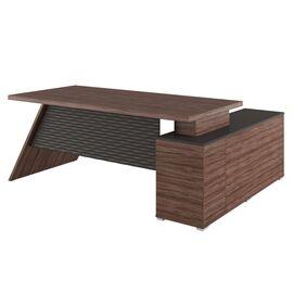 Стол для руководителя с тумбой левый IRVIN Pointex IRV30310301 Олива 2020x1550x780, Цвет товара: Олива