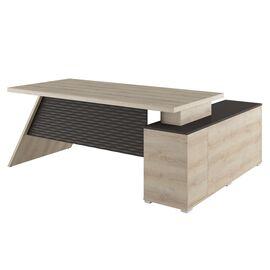 Стол для руководителя с тумбой левый IRVIN Pointex IRV30310301 Светлый дуб 2020x1550x780, Цвет товара: Светлый дуб