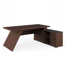 Стол для руководителя с тумбой правый IRVIN Pointex IRV30310401 Олива 2020x1550x780, Цвет товара: Олива, изображение 2