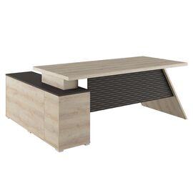 Стол для руководителя с тумбой правый IRVIN Pointex IRV30310401 Светлый дуб 2020x1550x780, Цвет товара: Светлый дуб