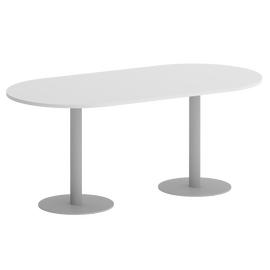 Стол овальный Home Office Riva VR.SP-5-180.1 Белый бриллиант / Серый мет. 1800*900*750, Цвет товара: Белый Бриллиант / Серый мет.