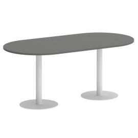 Стол овальный Home Office Riva  VR.SP-5-180.1 Металлик  / Белый мет.1800*900*750, Цвет товара: Металлик / Белый мет.