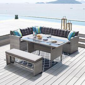 Комплект обеденный (стол, угловой диван и оттоманка) «Patio» ECODESIGN