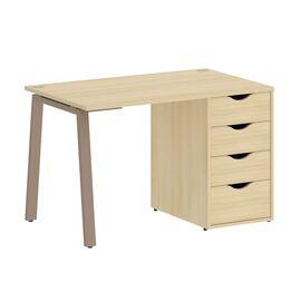 Стол прямой письменный с тумбой ( 4 ящика ) А-образные опоры L=1180мм Home Office Riva VR.SP-3-118.4A Акация Лорка / Мокко мет. 1180x720x750, Цвет товара: Акация Лорка / Мокко мет.