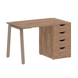 Стол прямой письменный с тумбой ( 4 ящика ) А-образные опоры L=1180мм Home Office Riva VR.SP-3-118.4A Клен / Мокко мет. 1180x720x750, Цвет товара: Дуб Табак / Мокко мет.