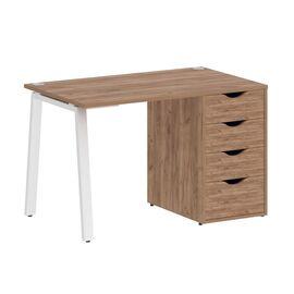 Стол прямой письменный с тумбой ( 4 ящика ) А-образные опоры L=1180мм Home Office Riva VR.SP-3-118.4A Клен / Белый мет. 1180x720x750, Цвет товара: Дуб Табак/ Белый мет.