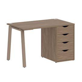 Стол прямой письменный с тумбой ( 4 ящика ) А-образные опоры L=1180мм Home Office Riva VR.SP-3-118.4A Дуб Аризона / Мокко мет. 1180x720x750, Цвет товара: Дуб Аризона / Мокко мет