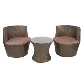 Кофейный комплект (стол и 2 кресла) из искусственного ротанга «PATIO» Ecodesign, изображение 3