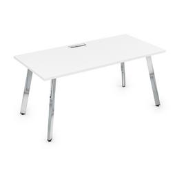 Стол прямой письменный Arredo ALSAV 10СР.089 Белый премиум/Металл глянец 1400х800х750, Цвет товара: Белый премиум /  глянец