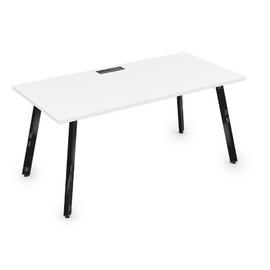 Стол прямой письменный Arredo ALSAV 10СР.089 Белый премиум/Черный глянец 1400х800х750, Цвет товара: Белый премиум / Черный глянец