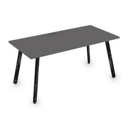 Стол прямой письменный Arredo ALSAV 10СР.089 Graphit matt/Черный глянец 1400х800х750, Цвет товара: Графит матовый / Черный глянец