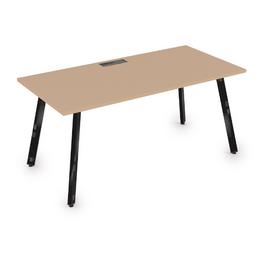 Стол прямой письменный Arredo ALSAV 10СР.089  Mokko/Черный глянец 1400х800х750, Цвет товара: Мокко / Черный глянец