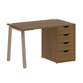 Стол прямой письменный с тумбой ( 4 ящика ) А-образные опоры L=1180мм Home Office Riva VR.SP-3-118.4A Орех Гварнери / Мокко мет. 1180x720x750, Цвет товара: Орех Гварнери / Мокко мет.